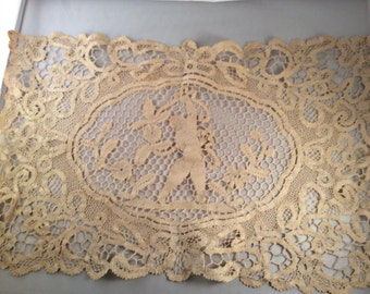 Vintage Rectangle Tan Lace Doily