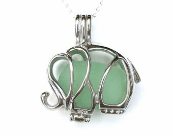 Elephant Necklace Sterling Silver GENUINE Sea Glass Jewelry In Elephant Locket Seaglass Necklace Beach Glass Necklace Good Luck Charm
