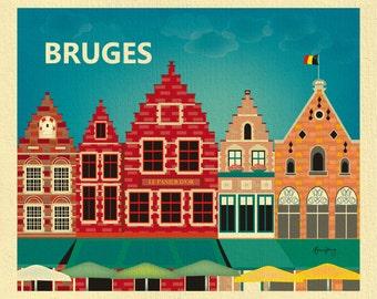 Bruges Print, Bruges Poster, Bruges Wall Art, Belgium Print, Bruges Skyline Art, Belguim Nusery Art,  Bruges Travel Gift - style E8-O-BRU