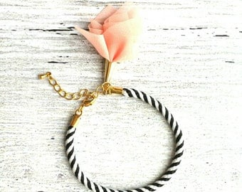 Black White Stripe Bracelet - woven striped cord with gold plated adjustable clasp - peach tassel sheer fabric charm - trendy chic luxe thin