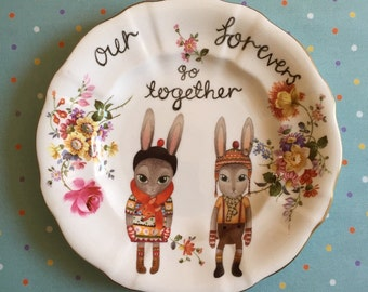 Our Forevers Go Together Winter Bunny Couple Vintage Illustrated Plate