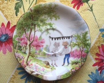 Wedding Cats Together Vintage Illustrated Scenic Plate