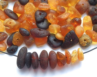 90pcs - Natural Baltic amber beads, unpolished rounded beads, yellow, honey, cherry, dark amber  5-10 mm at widest part (#91)