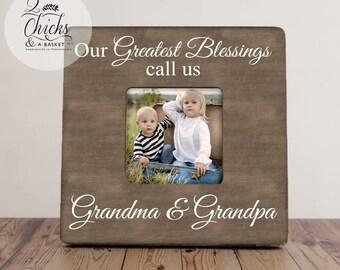 Our Greatest Blessings Call Us Grandma And Grandpa, Grandparent Picture Frame, Custom Grandparent Photo Frame, Grandchild Keepsake
