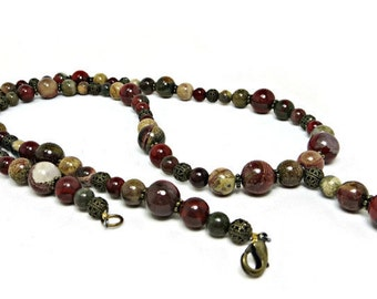 Multi-colored Apple Jasper and Antiqued Brass Filigree Beads Necklace