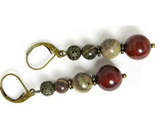 Multi-colored Apple Jasper and Antiqued Brass Filigree Beads Earrings