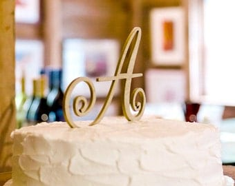 Cake Topper Monogram Letter in Glitter or Rustic Wood - Custom Letter Cake Topper for Wedding Cake, Personalized Cake Topper (Item - CTL900)