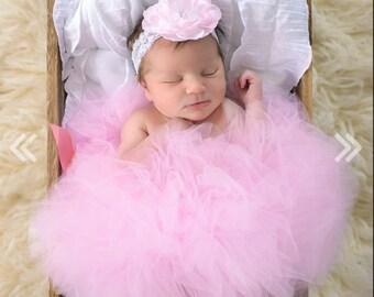 Pink Baby Tutu, Newborn Tutu and Headband, Pink Tutu Photo Outfit, Baby Girl Tutus, Infant Tutu, Tulle Skirt, Toddler Tutu Set
