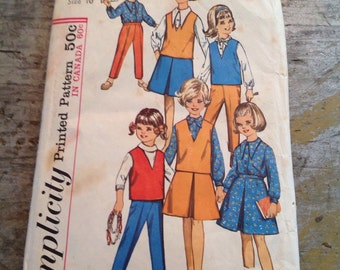 Vintage Simplicity Sewing Pattern 5640 Girl's Size 10 Blouse Skirt Top Pants