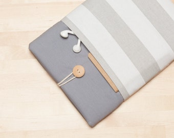 Macbook case / Laptop sleeve / Macbook air 13 sleeve / Custom Laptop sleeve / padded with pockets  - Grey stripes