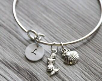 Mermaid Bangle, Personalized Initial, Ocean Bangle, Sea Bangle, Seashell Bangle, I'm a Mermaid Bangle, Really a Mermaid Bracelet