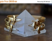 VALENTINES SALE GOLD or Silver /// Lux Divine /// Double Shark Tooth Gemstone Bracelet