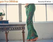 VALENTINES SALE Extra Small /// ATHENA Lounge Pants /// Reversible Boho Casual Bells /// Vintage Saree Print Flare Pants /// one of a kind