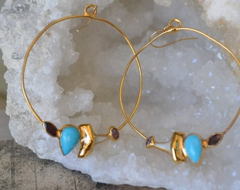 GEMSTONE HOOPS /// Earrings /// Electroformed 24kt Gold /// Turquoise & Shark Teeth