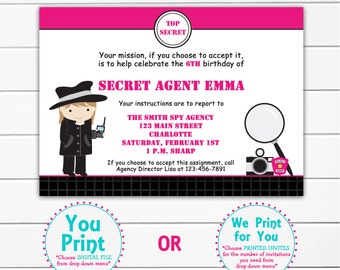 Spy birthday party invitation Spy Party Invitation Spy Party Mystery Party spy girl birthday