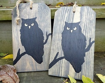 Woodland Owl Decoration Wooden Tag Rustic Home Decor Halloween Silhouette Wall Hanging