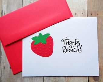 Thank You Cards Strawberries Thanks a Bunch  Stationery Greeting Card Set