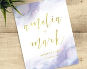 Lavender Watercolor and Gold Save the Date with matching envelopes