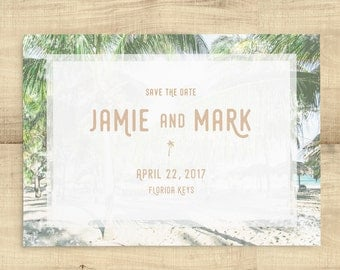 "Palm Tree Save The Date ""Vintage Palm"", Florida wedding, beach wedding, destination wedding, SAMPLE ONLY"