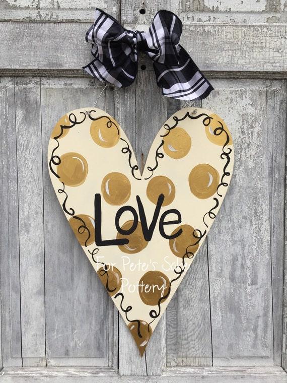 Gold, Valentine's Day door hanger, Heart door hanger, Valentine's day door hanger, Valentine's day sign