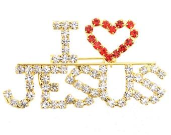 Red Heart I Love Jesus Brooch Pin 1005532