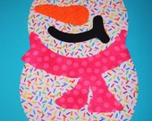 Rainbow Candy Sprinkle Iron On SNOWMAN Applique Jumbo SNOWGIRL..Hot Pink Polka Dot Scarf...Any Little Girl Would Love This On Her Shirt CUTE