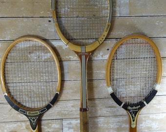 Vintage Tennis Rackets Wooden Rackets Blacks Set of 3