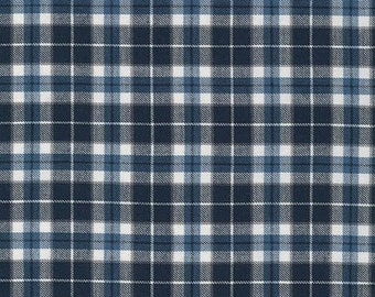 Blue Plaid Fabric Robert Kaufman Indigo Collection Soft Plaid Shirting Fabric - 1 Yard