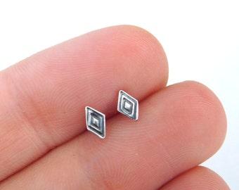 Silver Diamond studs | Silver stud earrings | silver tribal studs| Minimalist Everyday Earrings | Small post earrings | Geometric Shape