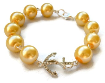 Yellow Pearl and Rhinestone Anchor Bracelet, Womens vintage inspired jewelry, Retro, Rockabilly, Pinup