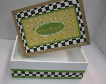 Black and White Check with Yellow and Green Dot Keepsake Box