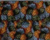 Cotton Fabric - Rust, Blue and Green Pom Poms Print - pre washed - by the yard