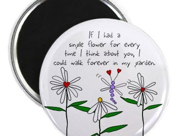 LOVE FLOWER GARDEN Valentine's Day 2.25 Fridge Magnet