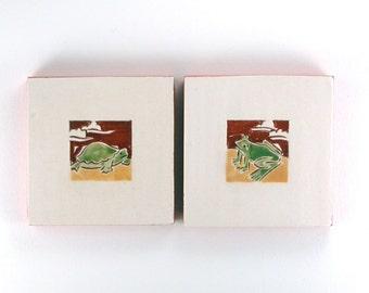 "Frog and Turtle, handmade ceramic tiles, coastesr or wall hangings 4""x4"", set of 2, save 10%"