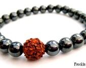 Mens Magnetic Hematite and Rudraksha Bracelet, Wrist Mala, Well Being