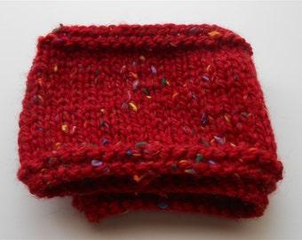 Red Ear Warmer Unisex Headband Ski Bands Knit Headbands, Knitted Tweed Ear Warmers, Hand Knit Red Tweed Earband Handmade Accessories