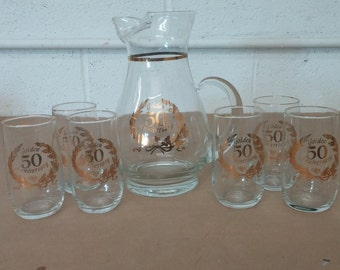 Vintage 50th Anniversary Pitcher and Glass Set