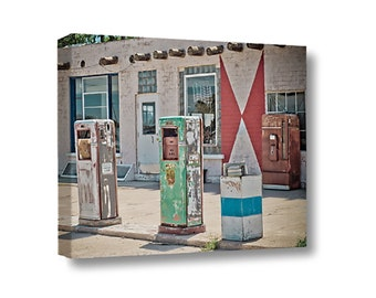 Large Canvas Wall Art Decor Midway Station Rt. 66 Adrian Texas Retro Gas Pumps