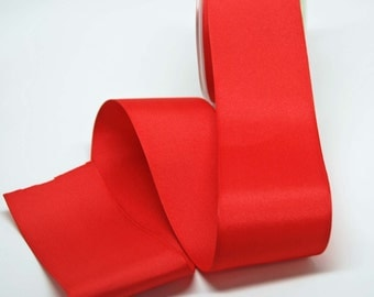 Grosgrain Solid Color Ribbon -- 2.5 inch -- Bright Red -- 2 yards