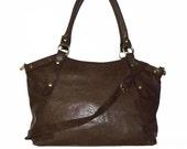 RUSTIC Leather Bag Handbag Tote // Leather Shoulder Cross Body Bag Elsa in vintage dark brown