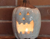 Ceramic Jack-o'-lantern Raku Pumpkin in Aqua and Red Tea Light Holder Handmade