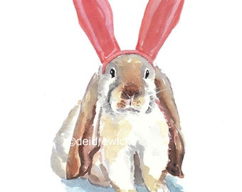Rabbit Watercolor Print - Big Ears, Bunny Ears, Lop Eared Rabbit, Nursery Art, 8x10 Print