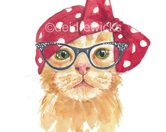 Orange Tabby Cat PRINT - Watercolour Print, 8x10 Painting, 1940s 1950s, Cat Eye Glasses