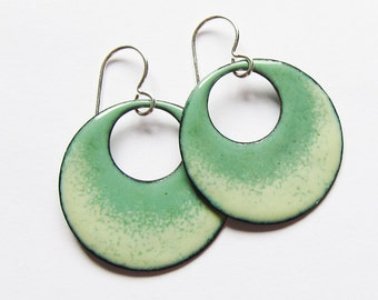 Green enamel hoop earrings Sage green circle dangles Spring bohemian jewelry Silver wires Ready to ship Gift for her Mom