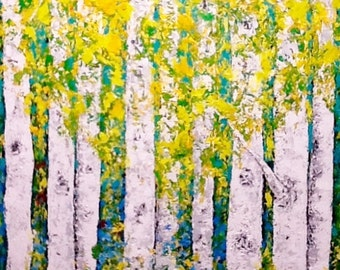 Aspen Birch Trees Large Original Acrylic Painting on 30 x 40  Gallery Wrapped Canvas Wall Art Wall Decor Ready to Ship