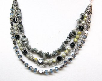Green, Blue, Black, and Gray Beaded Necklace, Czech Glass, Mother of Pearl, and Eagles Eye Stone Necklace, Multi-Stranded Silver Necklace