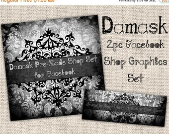 Damask Chalkboard Facebook Timeline Set - Facebook Profile Image - Damask Timeline Cover - Chalkboard Shop Banner Set - DIY Download Banner