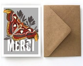 Thank You Cards Botanical Card Set - Merci Vintage Moth Set - 5Flat Cards with Kraft Paper A2 Envelopes. Blank Back Cards - S04