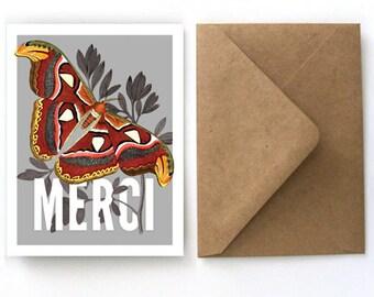 Thank You Cards Stationery Set - Merci Vintage Moth Set - 5Flat Cards with Kraft Paper A2 Envelopes. Blank Back Cards - S04