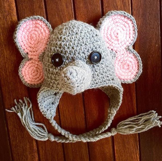 Free Crochet Pattern Infant Elephant Hat : Baby Elephant hat CROCHET PATTERN Baby Elephant Hat Crochet